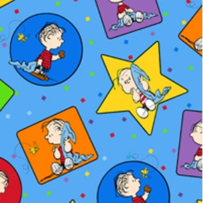 Project Linus Linus In Stars Circles Blue Cotton Fabric