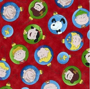 Picture of Christmas Time Peanuts Character Ornaments Red Cotton Fabric