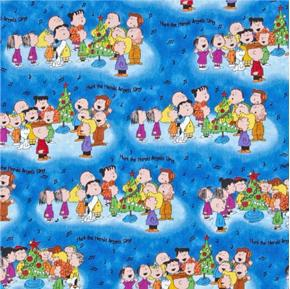 Picture of Christmas Time Peanuts Characters Caroling Blue Cotton Fabric
