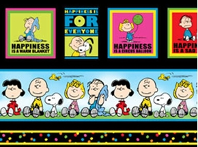 Picture of Happiness is Peanuts Stripe and Squares 24x22 Cotton Fabric