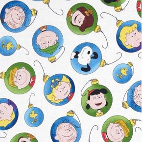 Christmas Time Peanuts Character Ornaments White Cotton Fabric