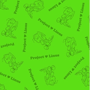 Project Linus Linus with Blanket on Green Cotton Fabric