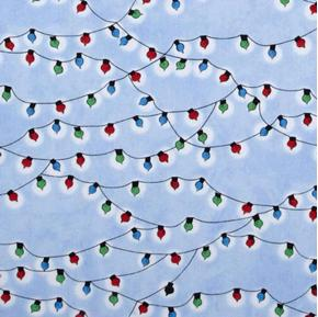 Christmas Time Peanuts Holiday Lights Blue Cotton Fabric