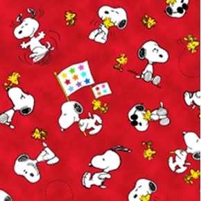 Picture of Project Linus Snoopy and Woodstock on Red Cotton Fabric