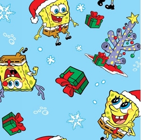 Picture of Sponge Bob Christmas Holiday on Blue Cotton Fabric