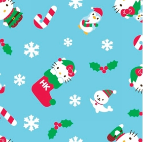 Hello Kitty Winter Toss Holiday Elf on Blue Cotton Fabric