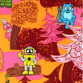 Picture of Yo Gabba Gabba Monsters Woods Orange Cotton Fabric