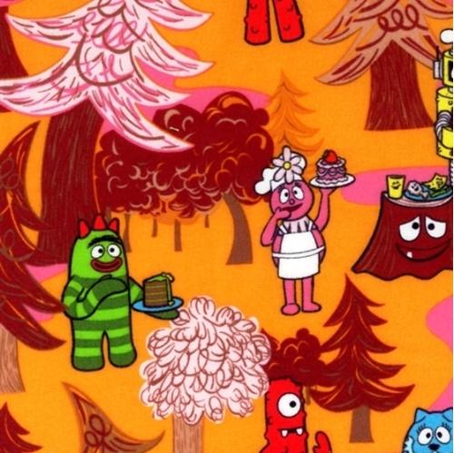 Flannel Yo Gabba Gabba Robots Fall Scene Cotton Fabric
