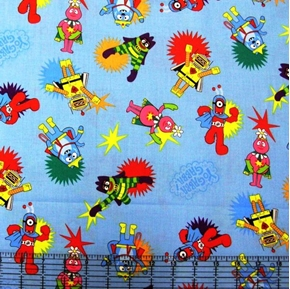 Picture of Yo Gabba Gabba Medium Characters on Blue Cotton Fabric