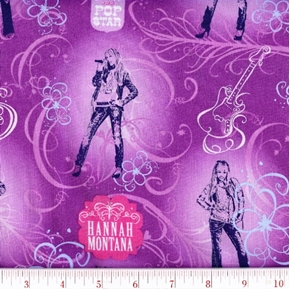 Disney Hannah Montana Secret Pop Star Cotton Fabric