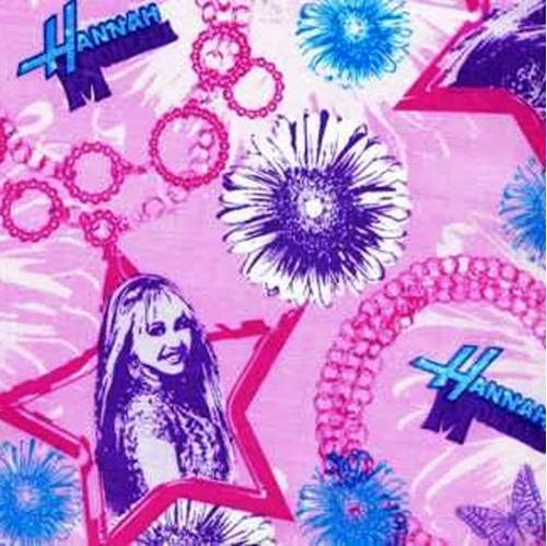 Disney Hannah Montana In Stars On Pink Cotton Fabric