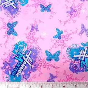 Disney Hannah Montana Butterflies on Pink Cotton Fabric