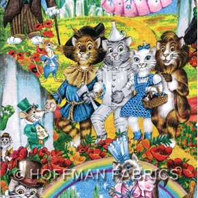 Wizard Of Pawz Cats As Oz Characters 24X22 Cotton Fabric