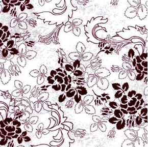 Phantom of the Opera Flowers on White Cotton Fabric