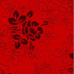 Phantom of the Opera Flowers on Red Cotton Fabric