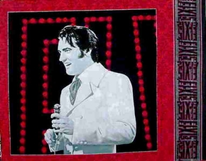 Elvis Singing With Microphone Red Cotton Fabric Pillow Panel