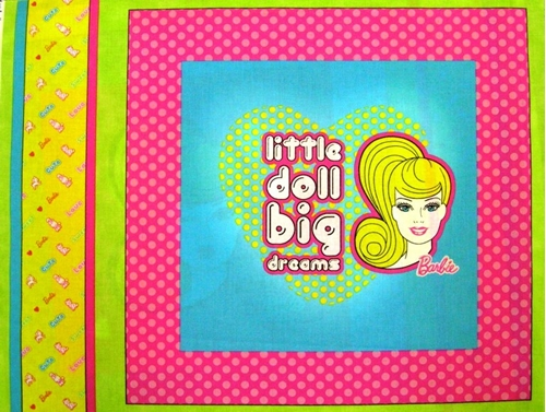 Barbie Little Doll Big Dreams Cotton Fabric Pillow Panel