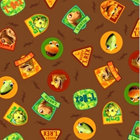 Hide and Seek with Buddy Dinosaur Train Cameos Brown Cotton Fabric
