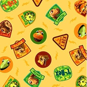 Hide And Seek With Buddy Dinosaur Train Cameos Gold Cotton Fabric