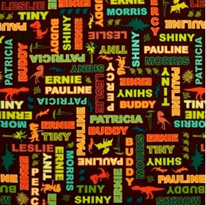 Dinosaur Train Character Names on Brown Cotton Fabric
