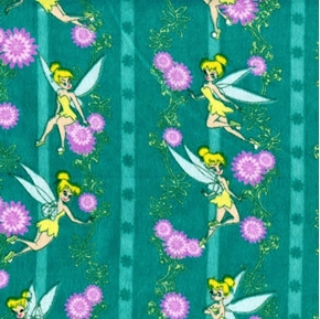 Flannel Disney Tinkerbell Turquoise Floral Stripe Cotton Fabric