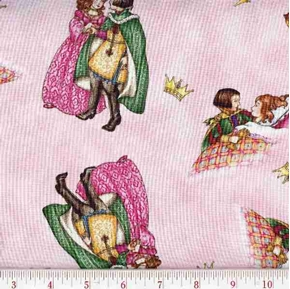 Sleeping Beauty with Prince on Pink Cotton Fabric