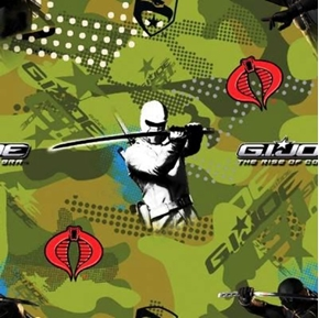 G.I. Joe Rise Of Cobra On Green Camouflage Cotton Fabric
