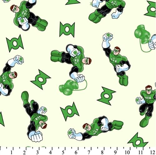 Super Friends Green Lantern on White Cotton Fabric