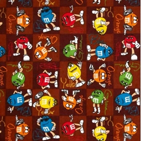 Picture of Flannel M and M Candy Guys Patch Brown Cotton Fabric