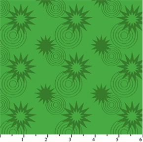 DC Comics Superhero Stars Circles Green Cotton Fabric