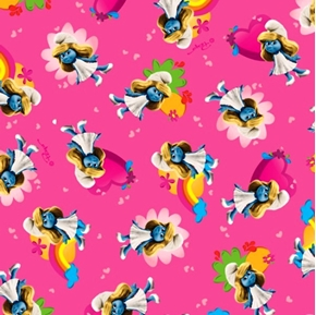 Picture of The Smurfs Smurfette Flowers Hearts on Pink Cotton Fabric