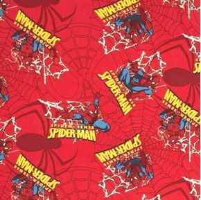 Picture of Spiderman Spider Badge and Webs on Red Cotton Fabric