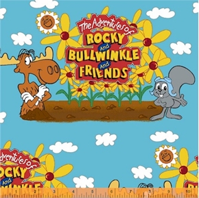 Adventures of Rocky and Bullwinkle Sky Cotton Fabric