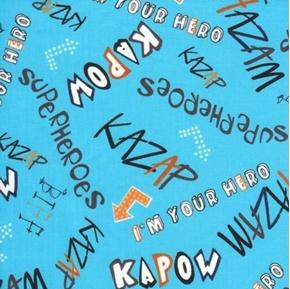 Kapow Comic Book Superhero Words on Blue Cotton Fabric