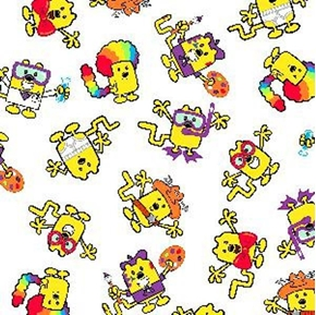 Wow Wow Wubbzy Characters On White Cotton Fabric