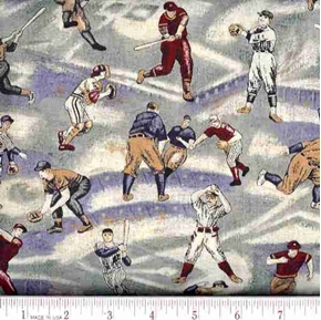 Vintage Baseball Players on Blue and Green Cotton Fabric
