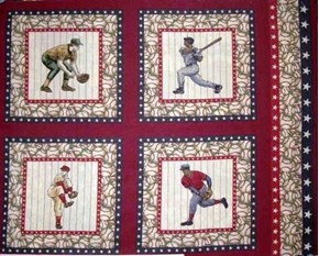 Vintage Baseball 4 Players Cotton Fabric Pillow Panel