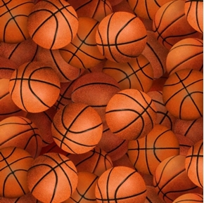 Basketballs All Over Sports Collection Cotton Fabric