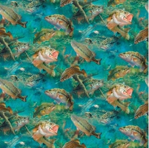 Stillwater Bass Fish Fishing Lake Or Creek Cotton Fabric