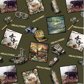 Realtree Hunting Gear And Scenes In Squares Cotton Fabric