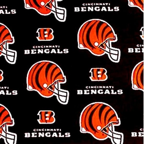 Nfl Football Cincinnati Bengals On Black 18X29 Cotton Fabric