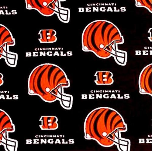 Nfl Football Cincinnati Bengals On Black 18X29 Cotton Fabric