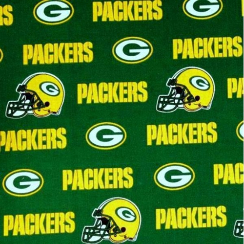 Nfl Football Green Bay Packers On Green 18X29 Cotton Fabric