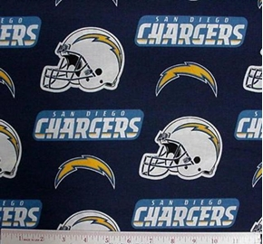 Nfl Football San Diego Chargers 18X29 Cotton Fabric