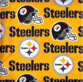 Nfl Football Pittsburgh Steelers On Yellow 18X29 Cotton Fabric