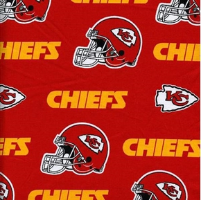Nfl Football Kansas City Chiefs Logos 18X29 Cotton Fabric