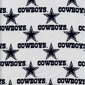Nfl Football Dallas Cowboys On White 18X29 Cotton Fabric