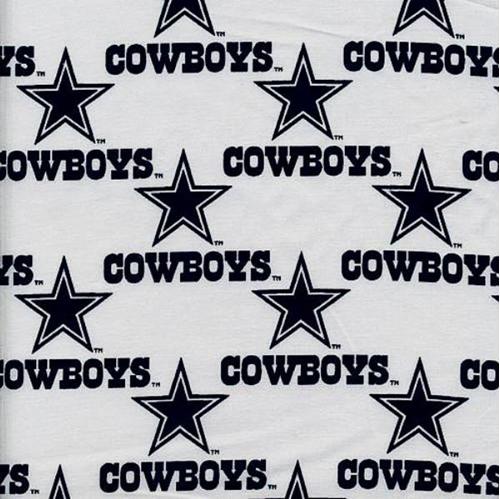 Nfl Football Dallas Cowboys On White 18X29 Cotton Fabric