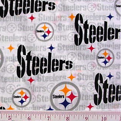 Nfl Football Pittsburgh Steelers On White 18X29 Cotton Fabric