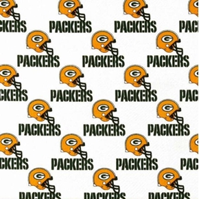Nfl Football Green Bay Packers On White 18X29 Cotton Fabric